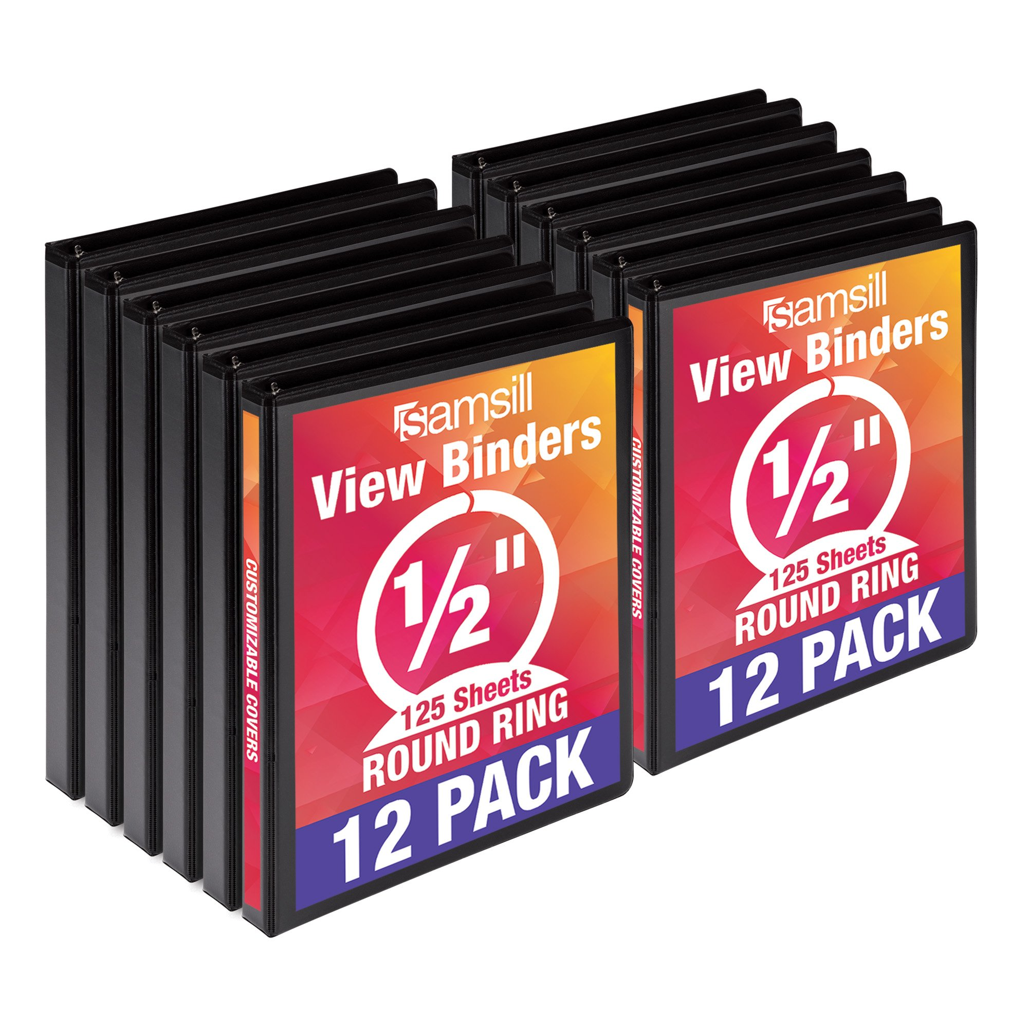 Samsill Economy 3 Ring View Binders.5 Inch Round Ring, Customizable Clear View Cover, Black, Bulk Binders - 12 Pack