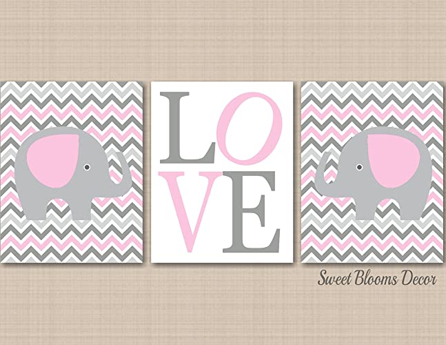 c5ea107b2 Elephant Nursery Décor,Pink Gray Elephant Nursery Wall Art,Girl Elephant  Wall Art,Pink Gray Chevron Nursery Wall Art,Gray Pink Girl Nursery  Art-UNFRAMED 3 ...