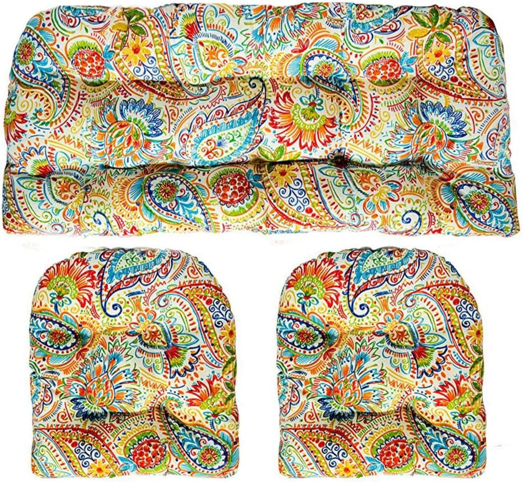 RSH D cor – Indoor Outdoor 3- Piece Large Tufted Wicker Cushion Set Made with Gilford Festival Thin Line Paisley Fabric
