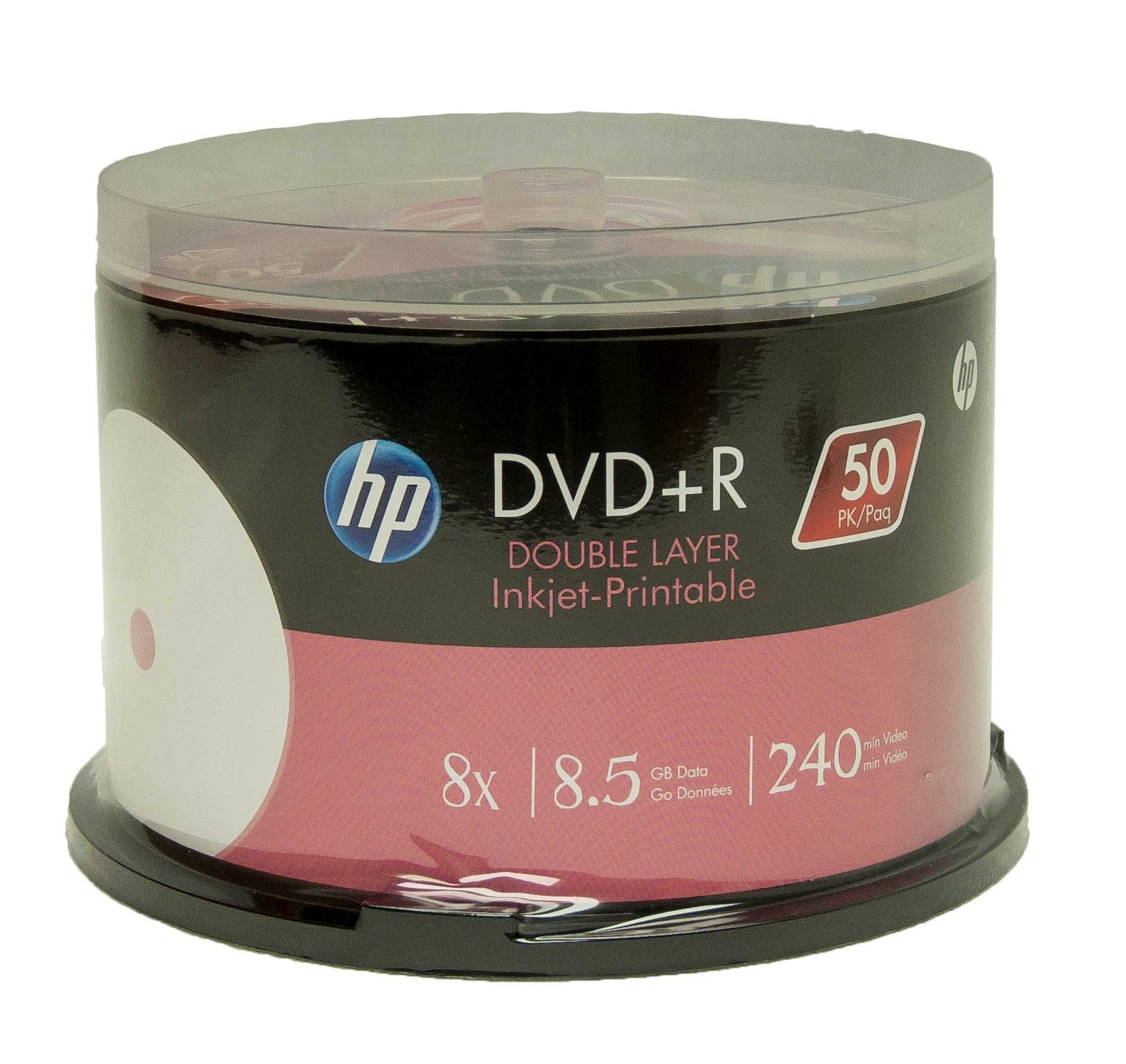 Hp Dvd+R Dl Double Layer 8X 8.5Gb White Inkjet Printable 50 Pack In Spindle by HP