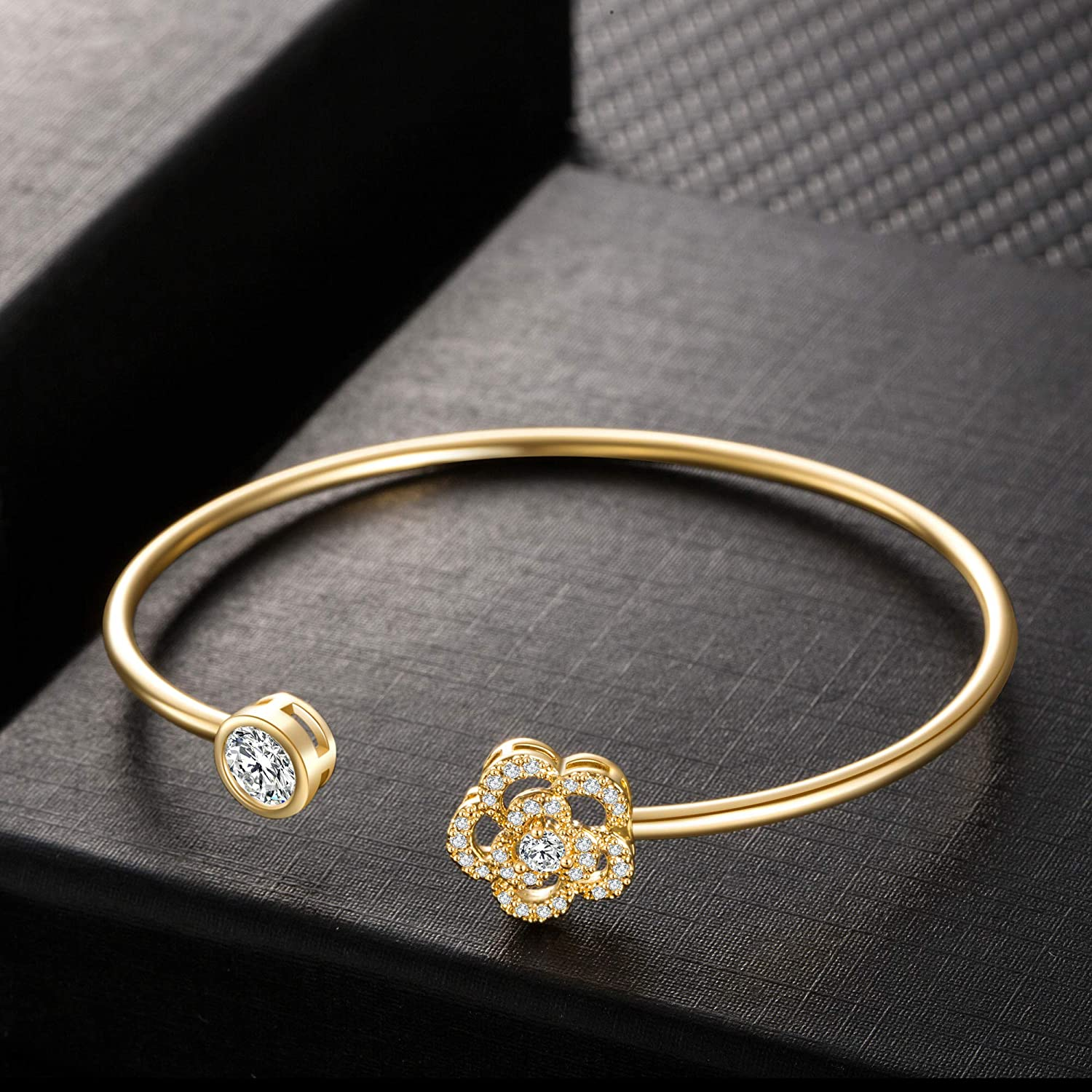 Buyless Fashion Girls Flower Bangle Bracelet Jewelry with White Stones