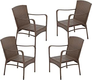 W Unlimited Leisure Collection Garden Patio Furniture Round Core Wicker Outdoor Furniture Bistro Set Table Cushions Deep Seating (4X Chairs)