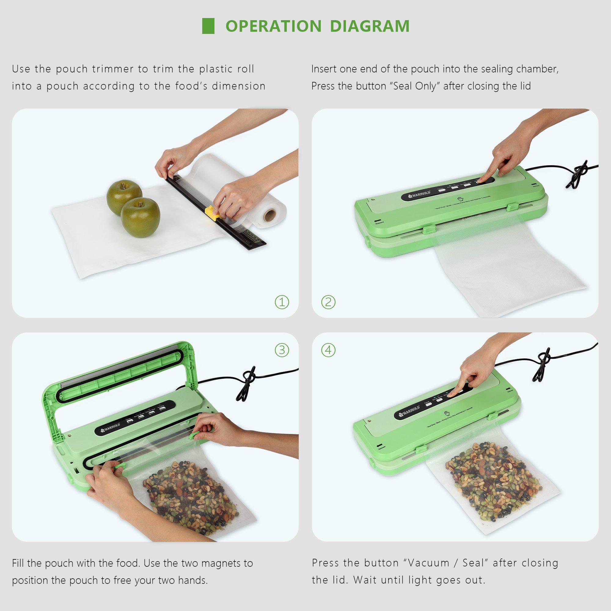MARIGOLD Food Vacuum Sealer Machine w/Starter Kit (FVS1701) by MARIGOLD (Image #5)
