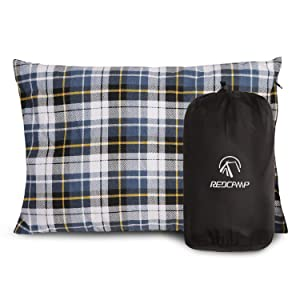 REDCAMP Small Camping Pillow Lightweight and Compressible, 1PC/2PCS Flannel Travel Pillow with Removable Pillow Cover