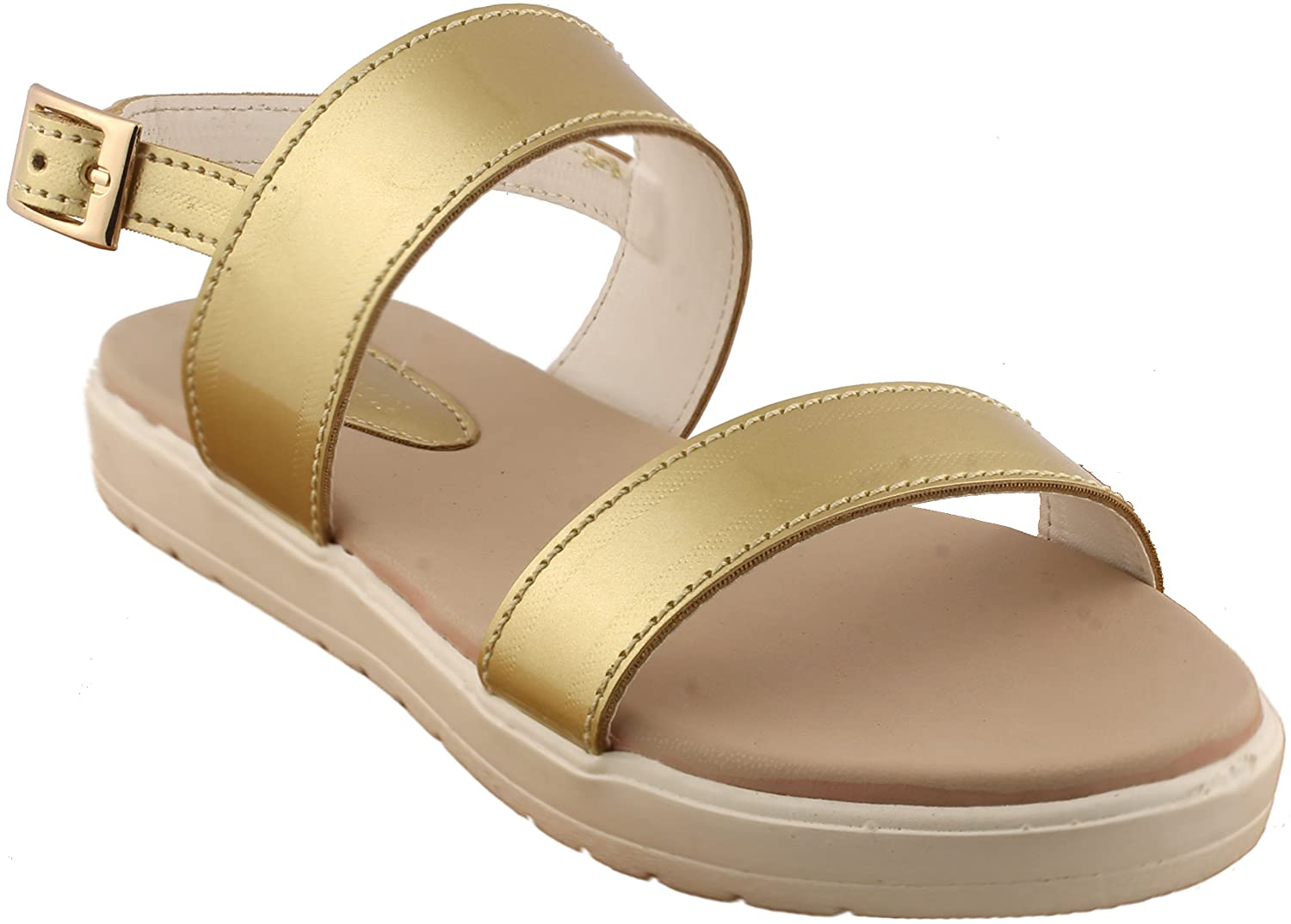 cf9350bec86 Gold flats double straps white sole ladies sandal beige sandal jpg  1500x1075 Ladies gold flats