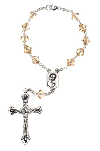 One Decade Auto Rosary made with Golden Shadow Swarovski Crystal elements