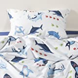 YOYOMALL Home Textile New!Kids Cartoon Cotton Duvet Cover Sets 4Pcs,Cute Shark in the Sea Bed Sheets for Teens Queen Size.