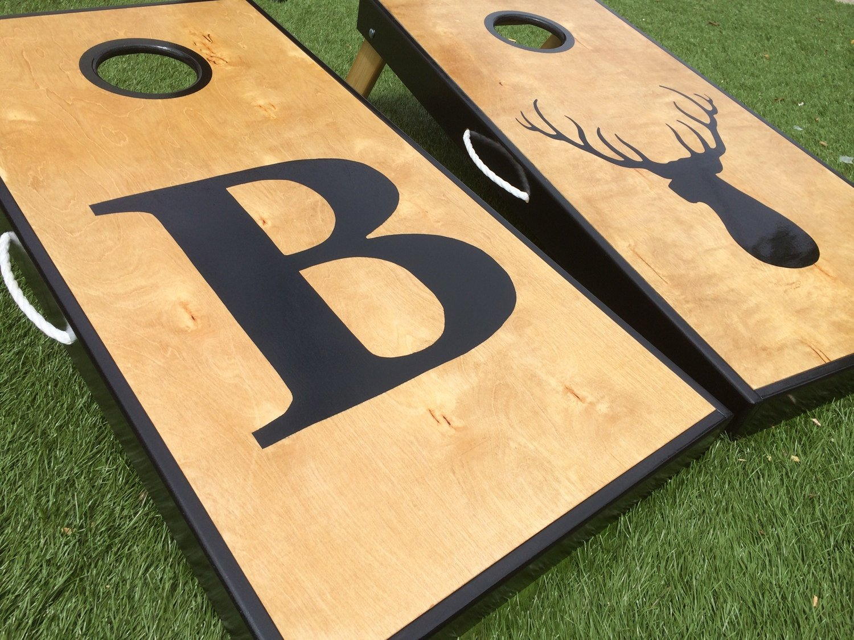 Big Letter and Deer Head Custom Cornhole Board Set by West Georgia Cornhole
