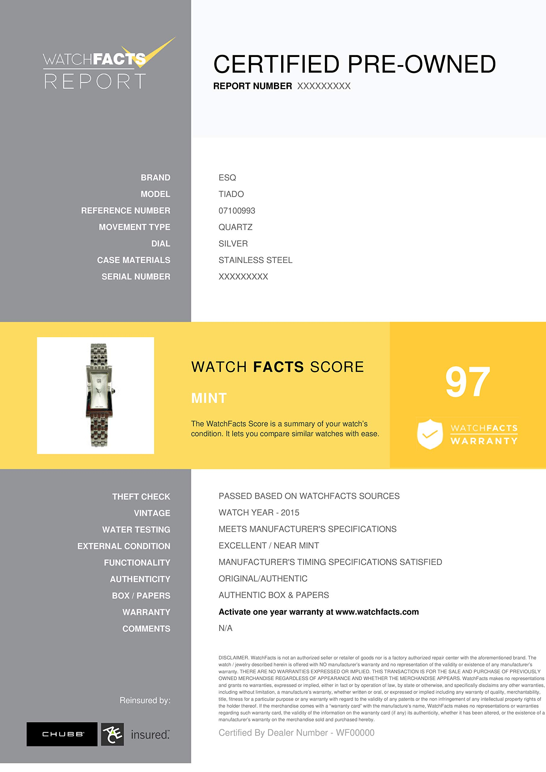 ESQ Tiado Quartz Male Watch 07100993 (Certified Pre-Owned) by ESQ (Image #2)