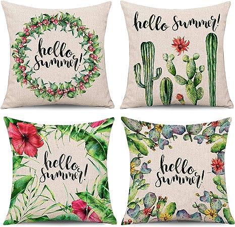 Cute Cactus Cushion Cover Cotton Linen Pillow Case Sofa Car Home Decor 45*45cm