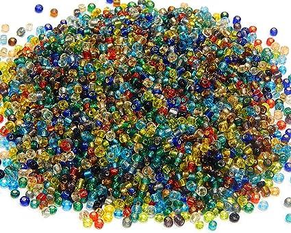 Top Rocailles Perlen 2mm NUR Silbereinzug Glasperlen 11/0 Bunte Mix IN68