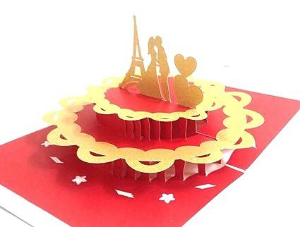Konkanmart d popup eiffel tower cake love anniversary card