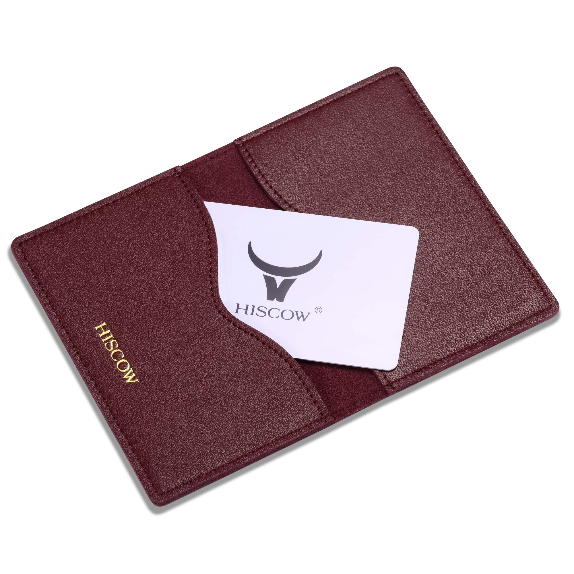 HISCOW Minimalist Thin Bifold Card Holder - Italian Calfskin (Bordeaux) by HISCOW (Image #6)