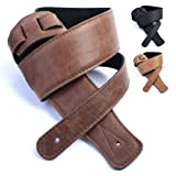 DBM Italian Leather Guitar Strap: Dark Brown 'Ultra Soft' Strap (Up to 1.3m) for Electric / Acoustic / Bass Guitar