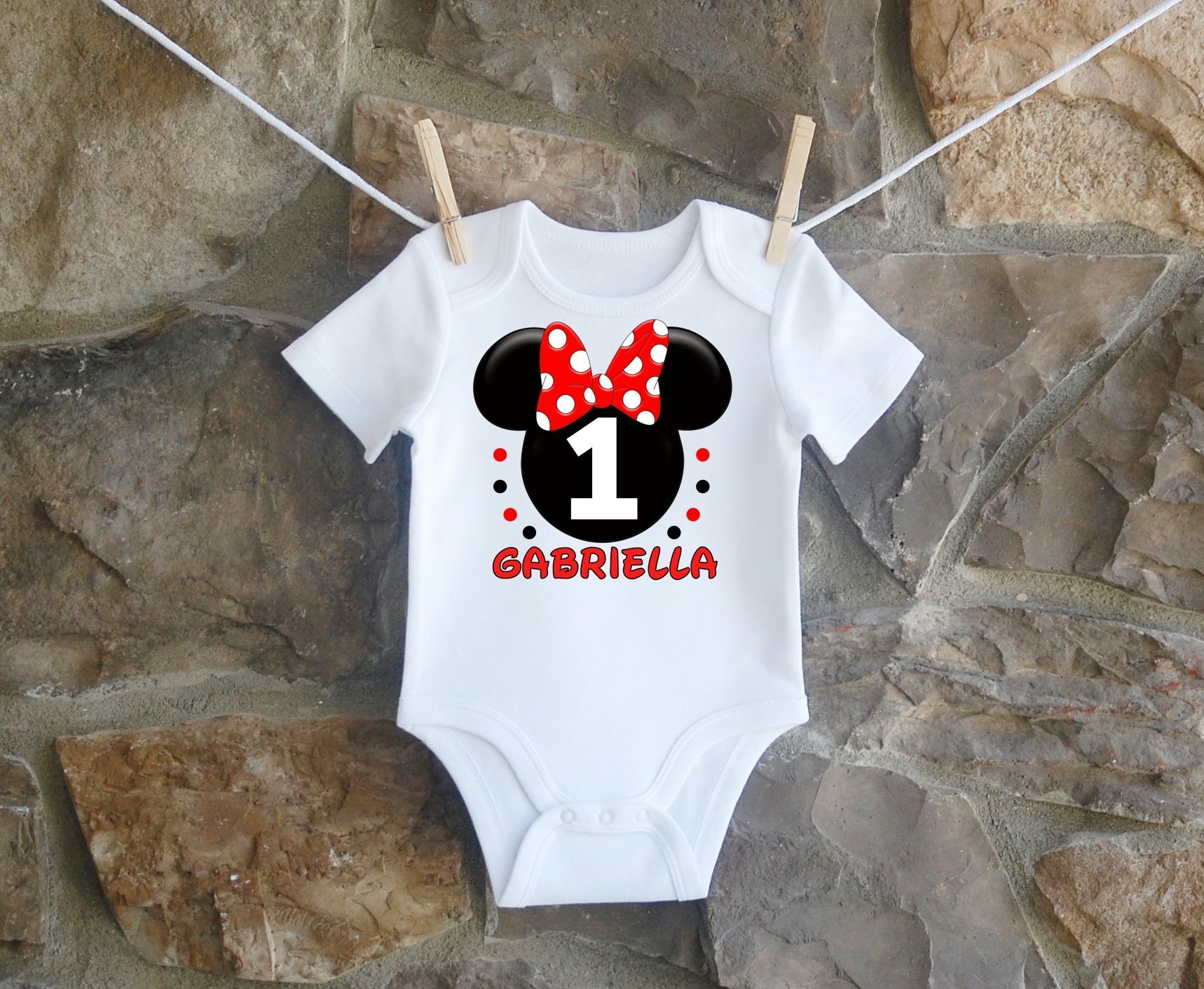 Minnie Mouse Birthday Shirt, Minnie Mouse Birthday Shirt For Girls, Personalized Girls Red Black Minnie Mouse Ears Birthday Shirt, Customized Minnie Mouse Birthday Shirt