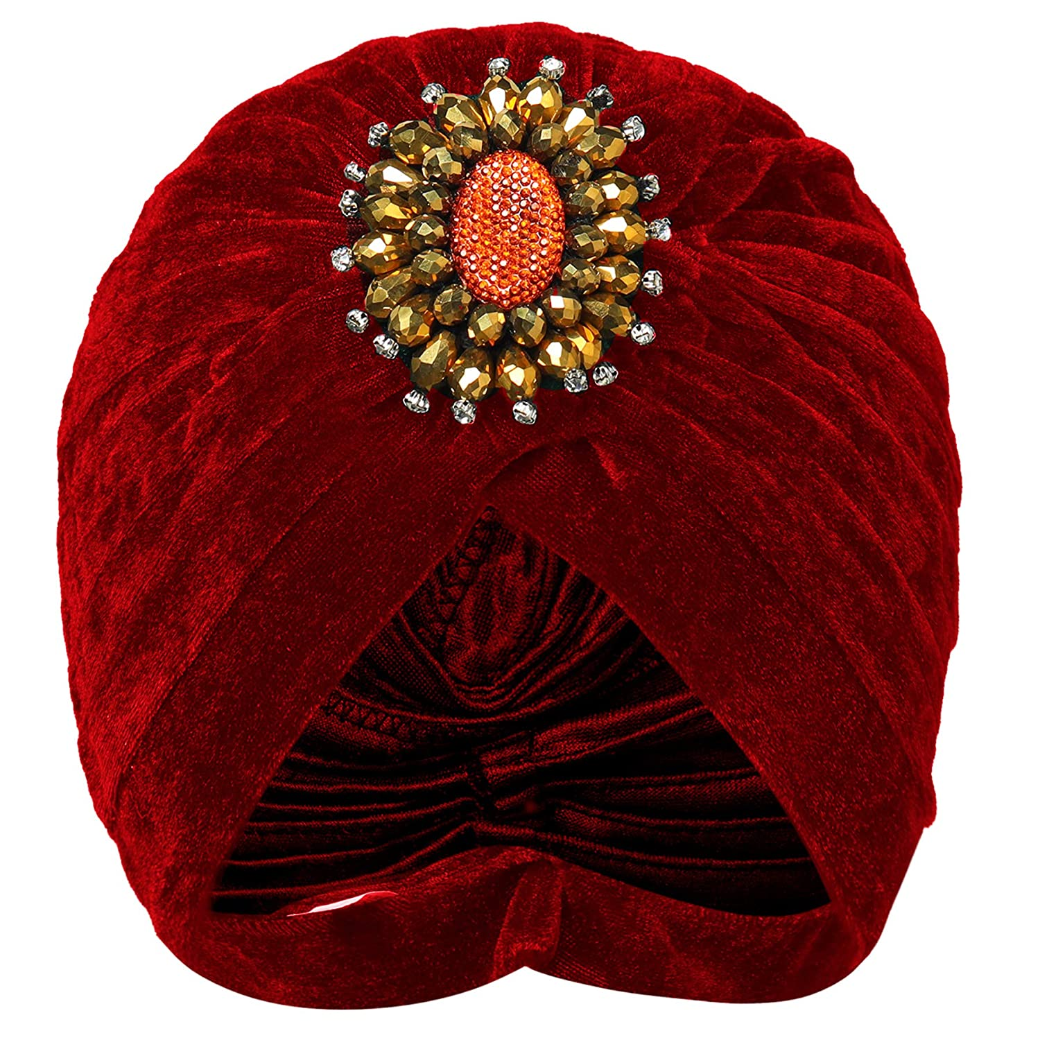 1920s Style Hats BABEYOND Womens Ruffle Turban Hat Knit Turban Headwraps with Detachable Crystal Brooch for 1920s Gatsby Party $10.99 AT vintagedancer.com