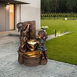 TOTOKA Indoor/Outdoor Girl and Boy Garden Decor Statue,Kissing Kids, Drinking Water Fountain, Resin Garden Sculpture Yard Art Decoration