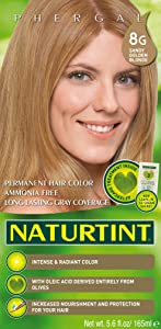 Naturtint Permanent Hair Color 8G Sandy Golden Blonde (Pack of 1), Ammonia Free, Vegan, Cruelty Free, up to 100% Gray Coverage, Long Lasting Results
