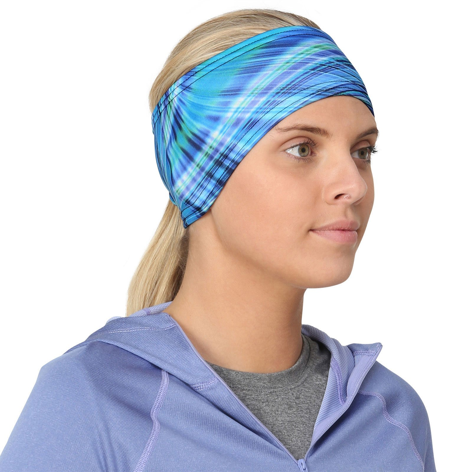 TrailHeads Women's Print Ponytail Headband – 12 prints  - Made in USA - deep dive blue