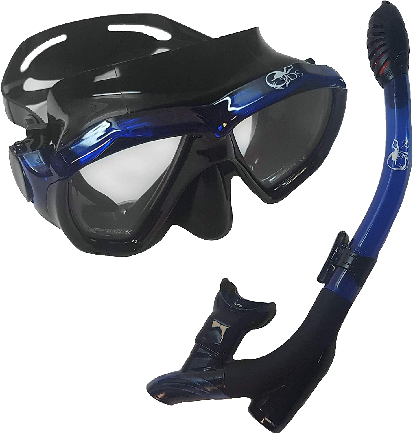 SCUBA Mask and Dry Top Snorkel Set for Adults with Impact Resistant Tempered Glass Anti-Fog Anti-Leak Silicone Skirt and Mouthpiece for Professional Grade SCUBA Snorkeling and Freediving