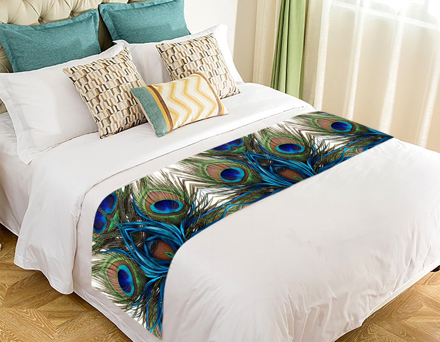 Custom Peacock Bed Runner,Peacock Bed Runner Bedding Scarf Bed Decoration 20x95 inch