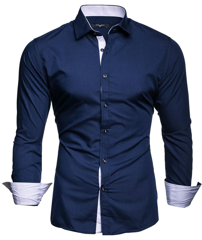 7235f1b3dc39 Kayhan Originale Uomo Camicia Slim Fit Facile Stiro Cotone Maniche Lungo S  M L XL XXL 2XL -Modello ...
