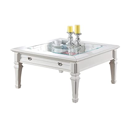 Superbe ACME Adalyn White Coffee Table With Display Glass Top