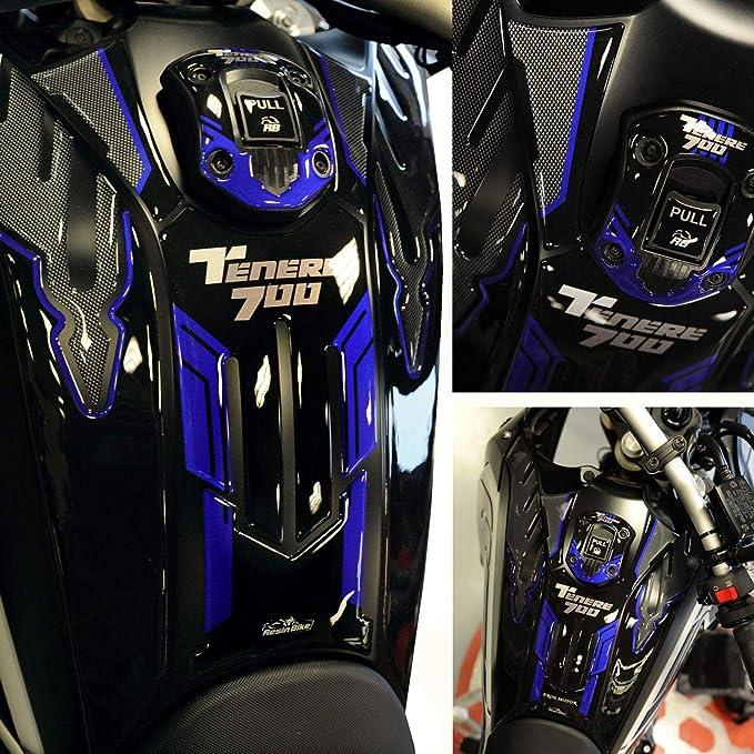 Adh/ésif 3D Protection R/éservoir Compatible avec Yamaha Tenere 700 2019 Bleu