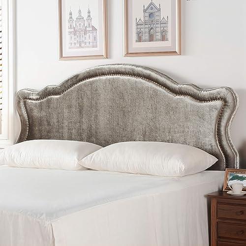 Jennifer Taylor Home Legacy Collection King Size Adjustable Velvet Upholstered Camel Back Headboard