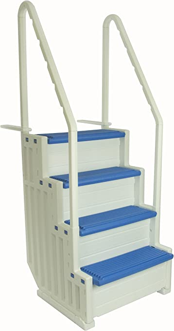 Confer Plastics Above Ground Swimming Pool Ladder | Heavy Duty | White  Frame with Blue Steps | Deck Height Up to 60 Inches | Makes Getting in &  Out of ...