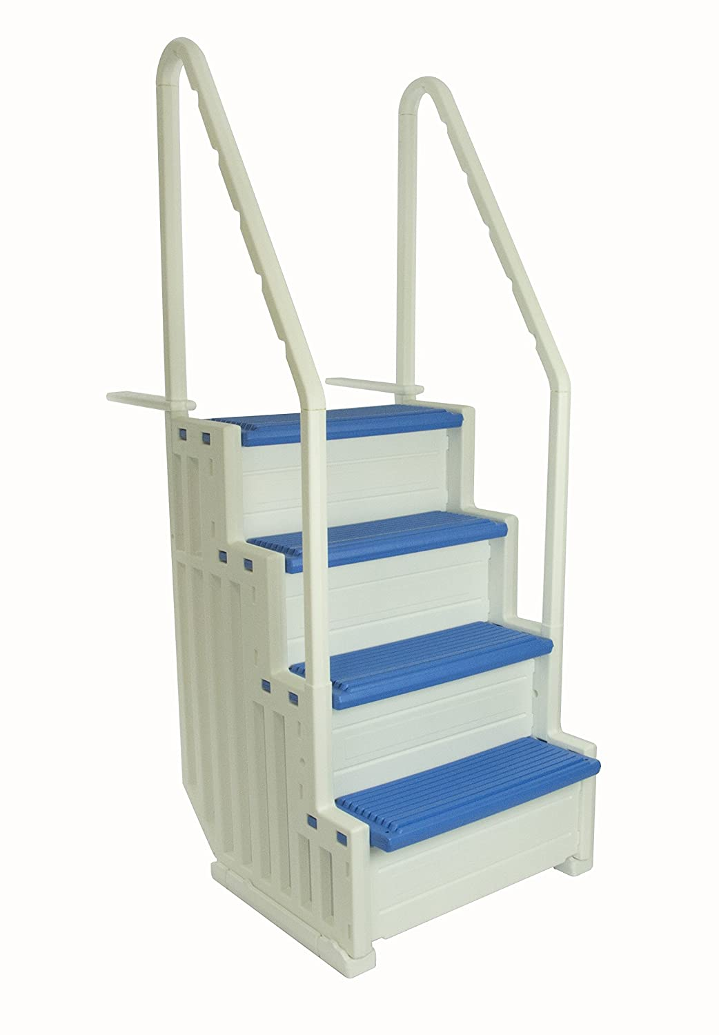 Confer Plastics Above Ground Swimming Pool Ladder | Heavy Duty | White Frame With Blue Steps | Deck Height Up To 60 Inches | Makes Getting In & Out Of Pool A Lot Easier