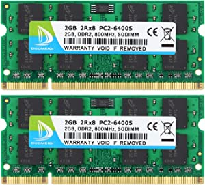 DUOMEIQI 4GB (2X 2GB) 2RX8 PC2-6300 PC2-6400 PC2-6400S DDR2 800MHz CL6 200 Pin 1.8v SODIMM Notebook RAM Non-ECC Unbuffered Laptop Memory Module Compatible with Intel AMD and MAC System