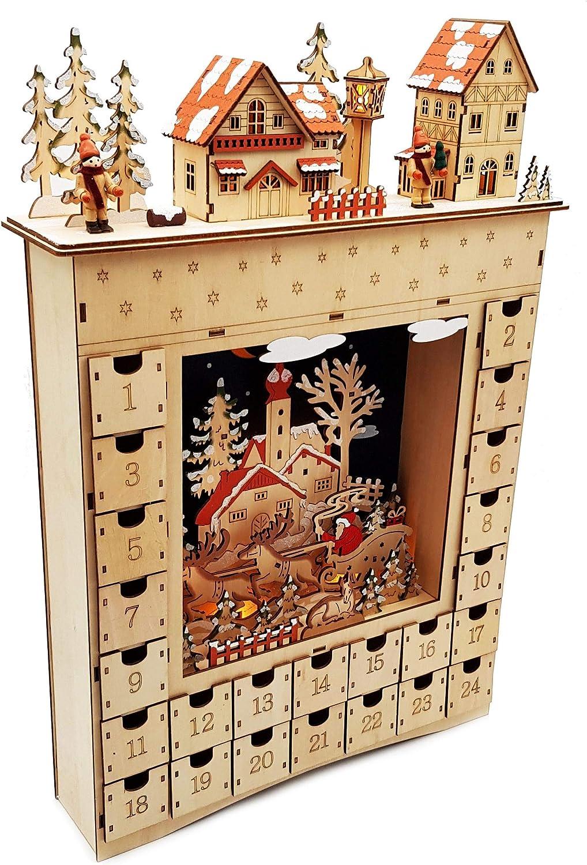 Wichtelstube-Kollektion Gnomo Collezione XL LED Calendario dellAvvento in Legno Illuminato da riempire la Serata di Natale Arco Luminoso a Dondolo Natale