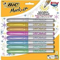 Bic GMPMP81 Metallic Permanent Marker, Fine Tip, Assorted Color
