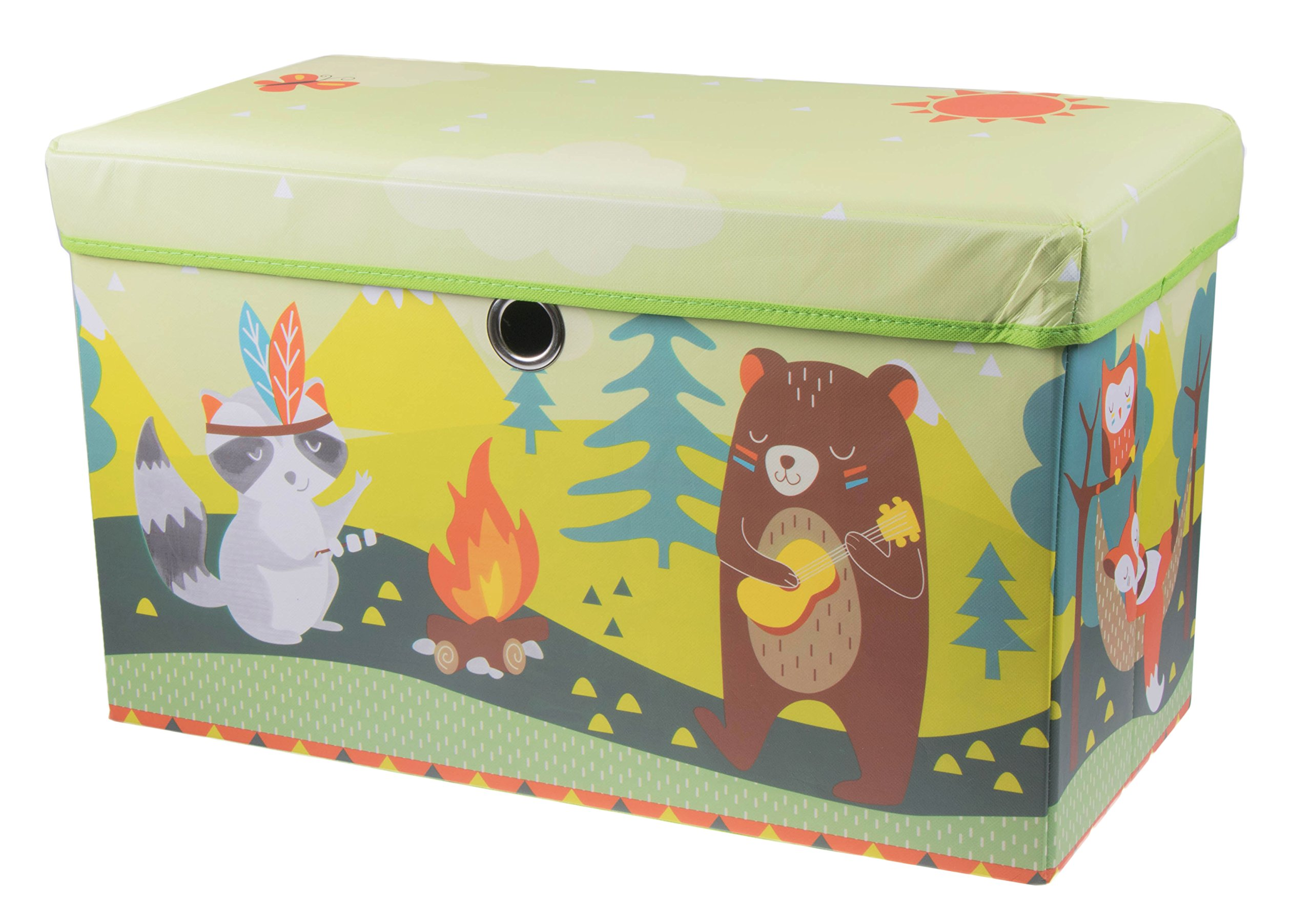 Cute Animal Camping Collapsible Storage Organizer by Clever Creations | Storage Ottoman for Bedroom and Living Room| Perfect Size Chest for Books, Clothes, Electronics, and Gadgets by Clever Creations
