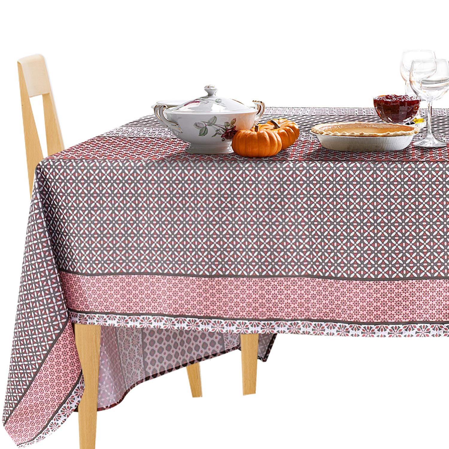 Astounding Jiater Floral Printed Table Cloth Spillproof Polyester Fabric Rectangle Tablecloths 60 X 84 Red Floral Bralicious Painted Fabric Chair Ideas Braliciousco