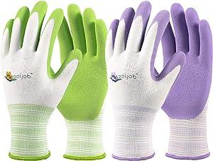 COOLJOB Gardening Gloves for Women, 6 Pairs Breathable Rubber Coated Garden Gloves, Outdoor Protective Work Gloves, Medium Size Fits Most, Lavender Purple & Apple Green (Half Dozen M)