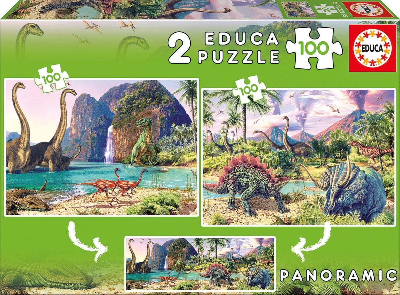 Educa - Dino World Panoramico, 2 Puzzles infantiles de 100 piezas, a partir de 6 años (15620)