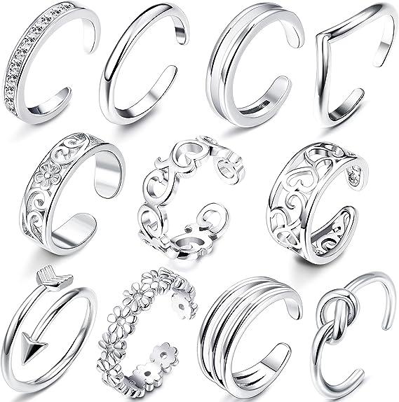 12X Einstellbare Retro Silber Open Toe Ring Finger Fußringe--Mode