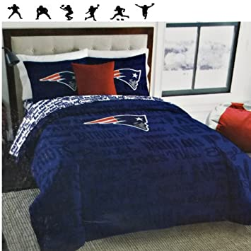 NFL New England Patriots Football Queen Size Comforter And Sheet Set + Wall  Decals
