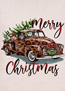 Furiaz Merry Christmas Garden Flag, Leopard Truck Home Decorative House Yard Small Flag Xmas Tree Buffalo Plaid Gnome Decor Double Sided, Winter Holiday Outdoor Decoration Seasonal Outside Flag 12x18