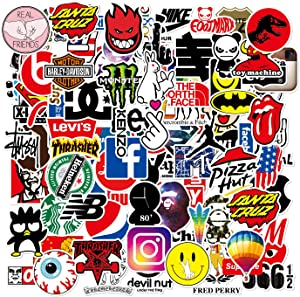 103Pcs Fashion Brand Waterproof Stickers for Water Bottles Vinyl Sticker Pack for Laptop Skateboard Car Kids Teens Adults