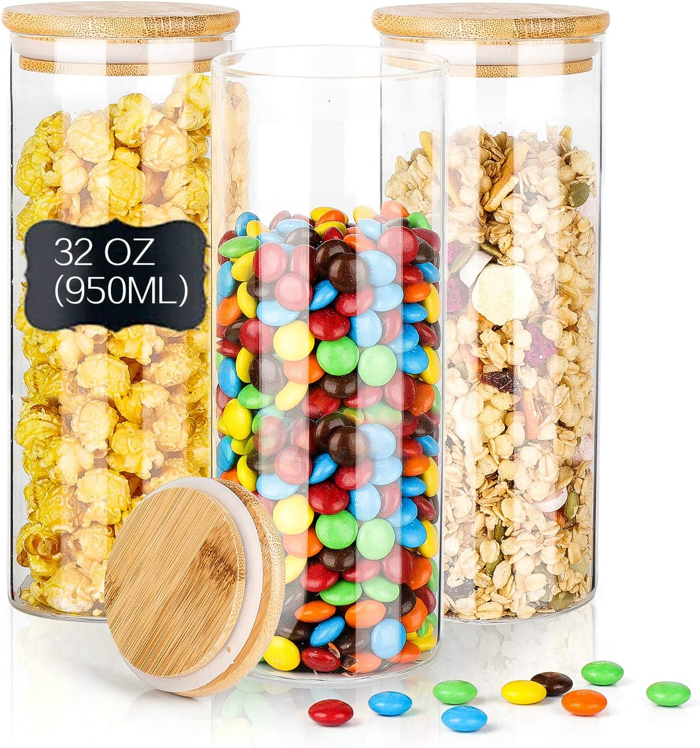 Glass Jars with Bamboo Lids,3PACK Glass Food Storage Canister Sets,32OZ/950ML Glass Storage Jars for Flour, Sugar, Coffee, Cookie Jar, Candy, Spaghetti ,Rice and Spice Jars