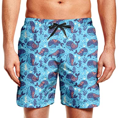 6433fcef53 Whale Pattern with Tribal Ornament Young Men Swim Trunks Bathing Suit High  Waisted Board Shorts   Amazon.com