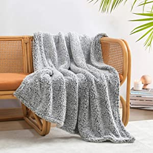 """Ultra Soft Cozy Sherpa Throw Blanket, 2 Tones Ombre Black Pattern Reversible, Light Weight Warm Decorative Boho Style Throw Blanket Cover for Sofa, Couch, Bedroom,Travel, 50""""x60"""""""