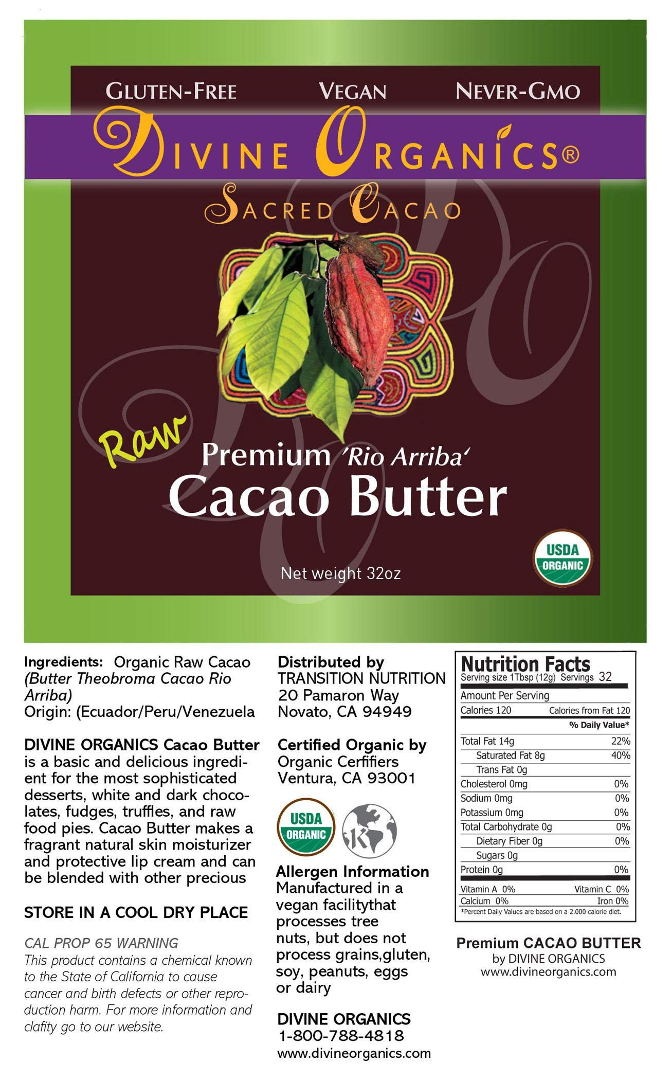 Divine Organics Raw Cacao Butter / Cocoa Butter - Certified Organic - Food Grade - Edible - Fragrant, Natural Skin Moisturizer (32 oz) by Divine Organics (Image #3)