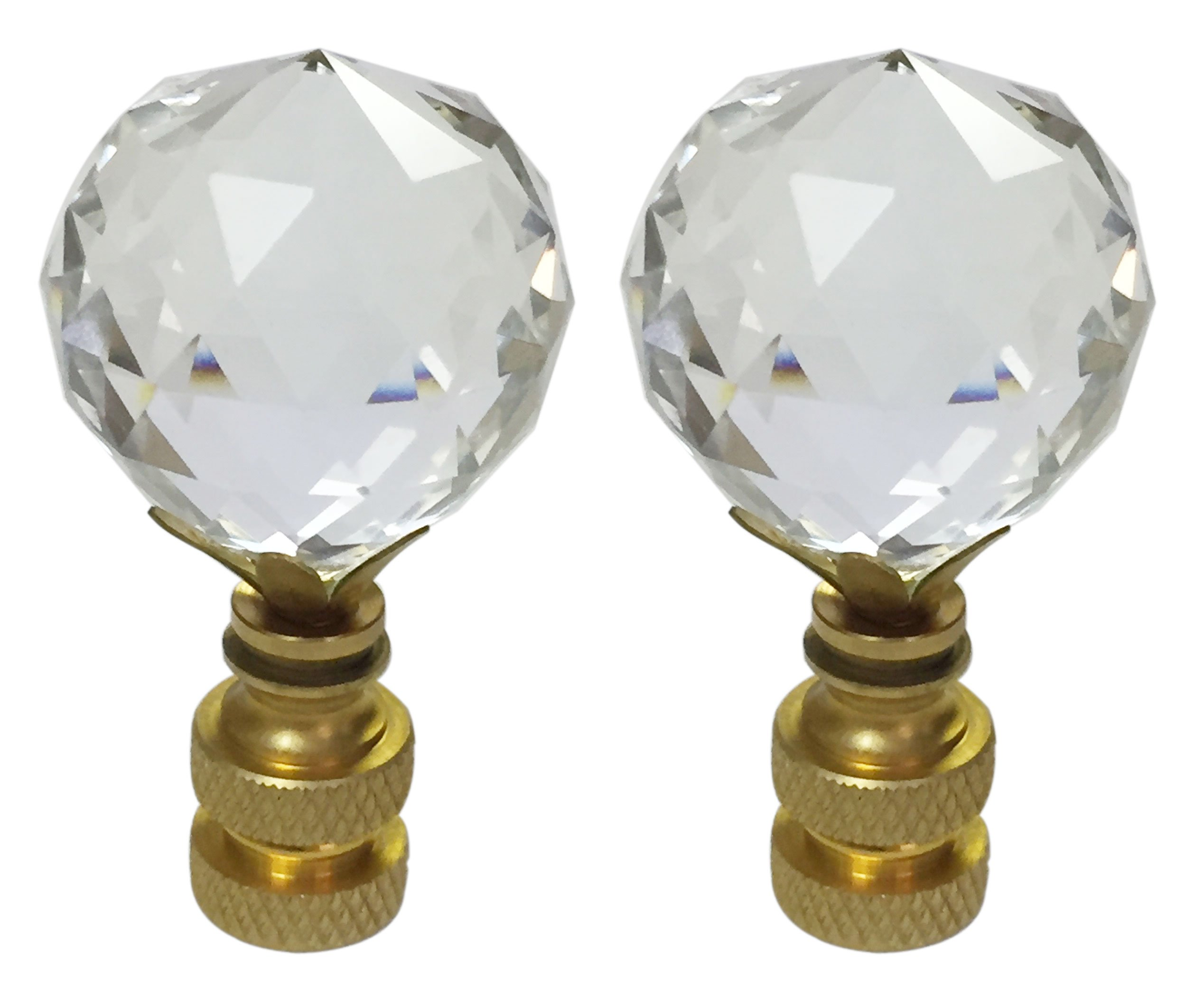 Royal Designs CCF2505L-PB-2 Large Faceted Diamond Cut Clear K9 Crystal Finial for Lamp Shade with Polished Brass Base, Set of 2, 2 Piece