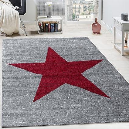 Paco Home Alfombra De Juegos para Habitaci/ón Infantil con Dise/ño Estrella Velour Corto Gris tama/ño:120x170 cm