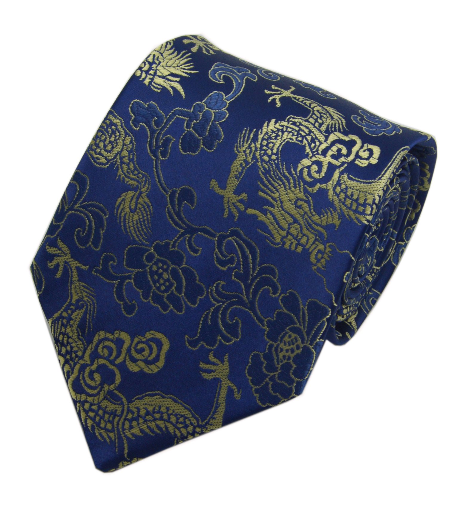 Mens Navy Blue Gold Jacquard Woven Casual Silk Tie Necktie Suitable for Business