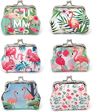 Pink Flamingos Pattern Canvas Coin Purse Assorted Wallet Bag With Zip